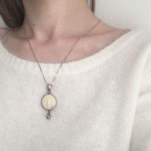 Vintage Sterling Carved Bone Pendent Necklace